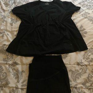 Black maternity scrub set